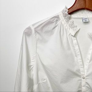 OLD NAVY White Scalloped Lace Trim Button Down Top